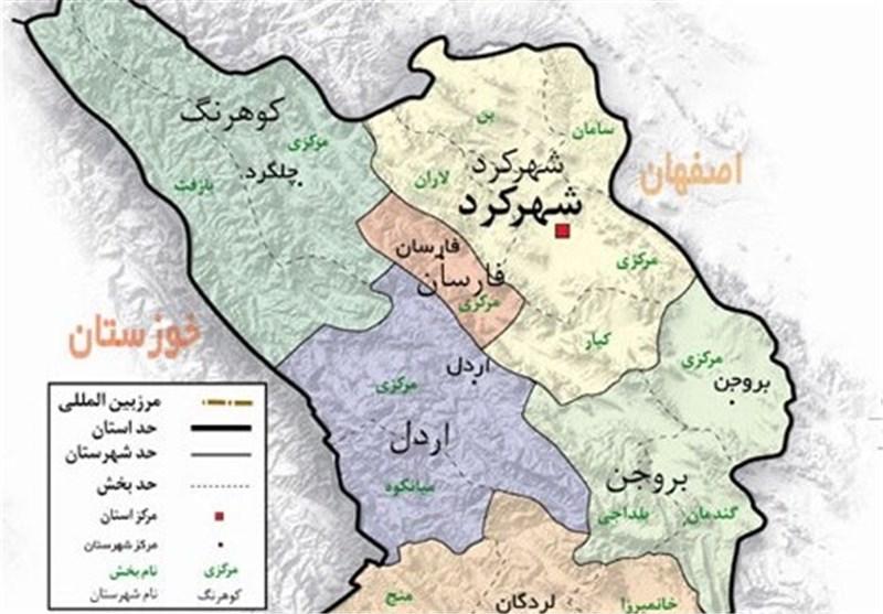 موقعیت جغرایایی شهرستان اردل