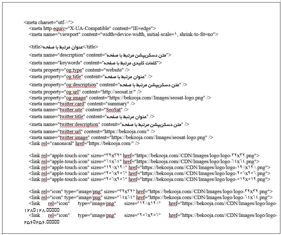 کدهای مورد استفاده در اسشتراک گذاری صفحات